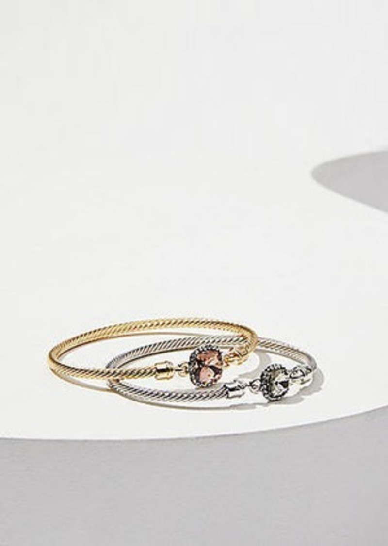 LOFT Mixed Metal Crystal Bangle Set
