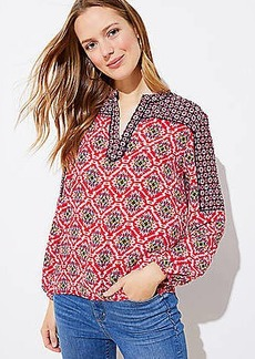 LOFT Mixed Mosaic Split Neck Blouse