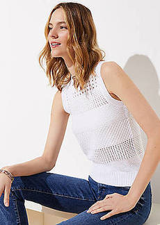 LOFT Mixed Stitched Sweater Tank