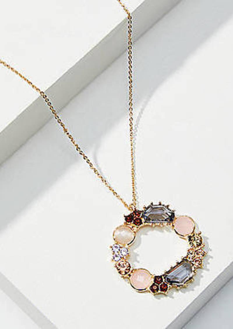 LOFT Mixed Stone Circle Pendant Necklace