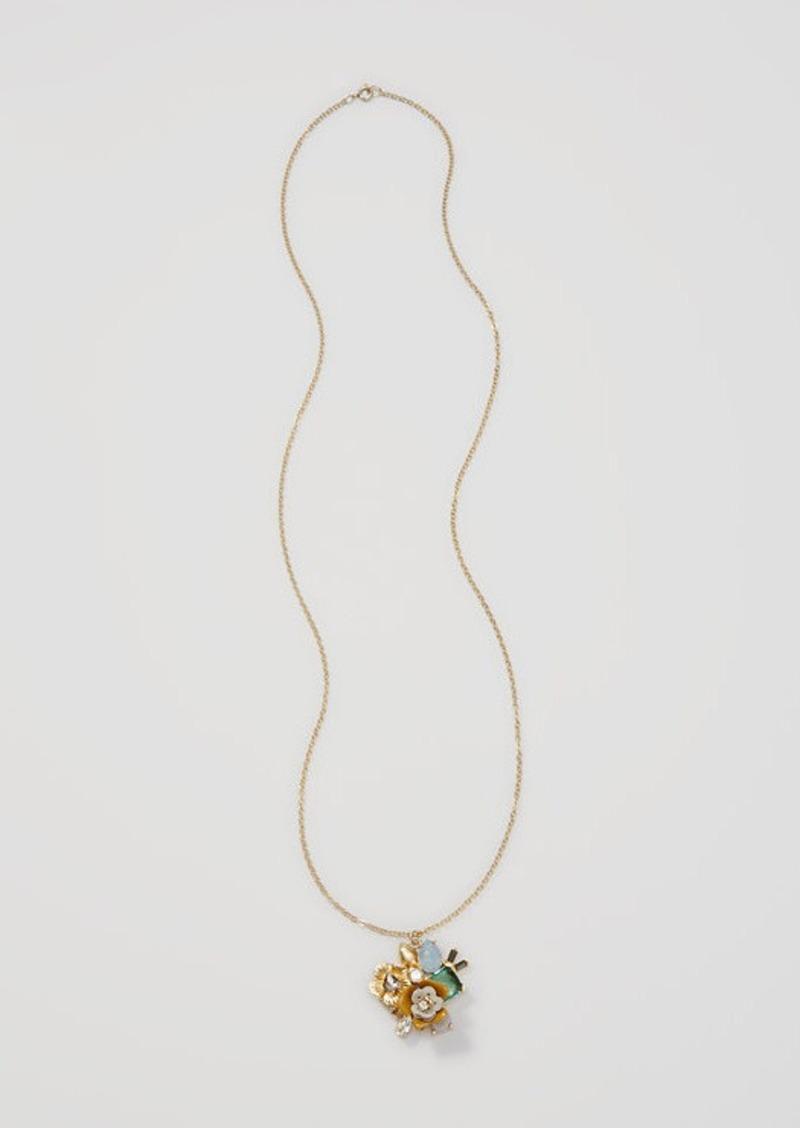 LOFT Mixed Stone Floral Pendant Necklace