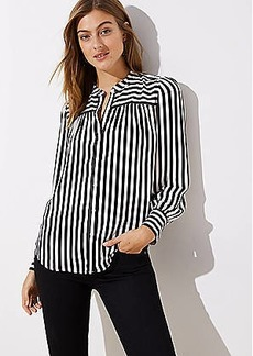 LOFT Mixed Stripe Puff Sleeve Blouse