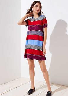Mixed Stripe Short Sleeve Swing Dress