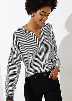 LOFT Mixed Stripe Split Neck Shirt