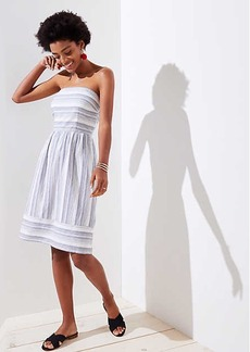 LOFT Mixed Stripe Strapless Dress