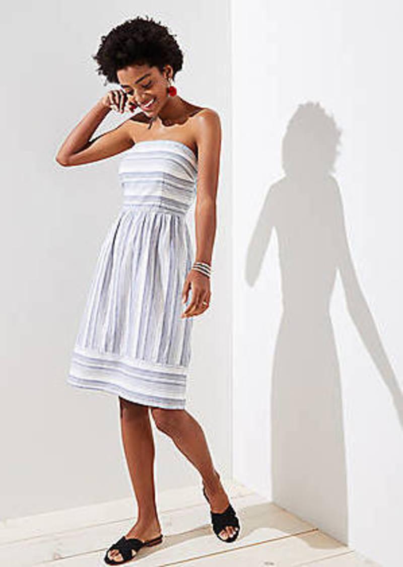 LOFT Mixed Stripe Strapless Dress