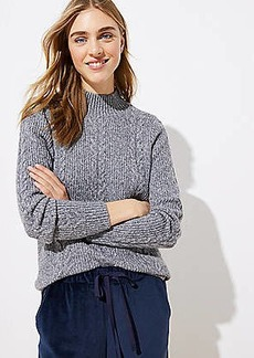 LOFT Mock Neck Cable Sweater