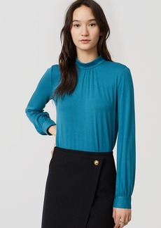 LOFT Mockneck Shirred Blouse
