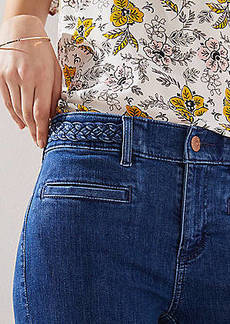 LOFT Modern Braided Waist Skinny Jeans in Pure Mid Indigo Wash