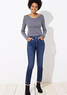 LOFT Modern Button Cuff Skinny Jeans in Aegean Blue Wash