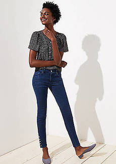 LOFT Modern Button Cuff Skinny Jeans in Rich Mid Indigo Wash