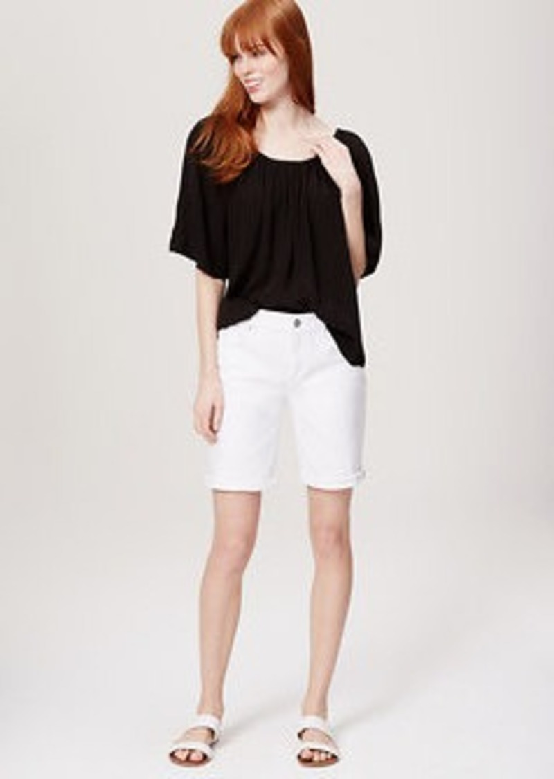 LOFT Modern Denim Bermuda Rolled Cuff Shorts in White