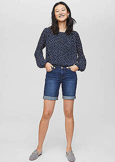LOFT Modern Denim Bermuda Shorts in Rich Dark Indigo Wash