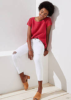 LOFT Modern Destructed Skinny Crop Jeans in White