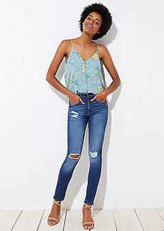 LOFT Distressed High Waist Slim Pocket Skinny Jeans in Mid Indigo Wash
