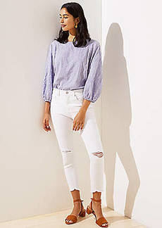 LOFT Distressed High Rise Skinny Crop Jeans in White