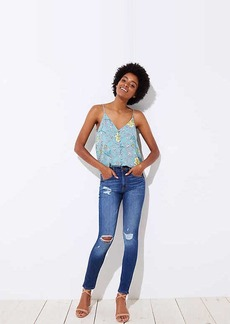 LOFT Modern Distressed High Waist Skinny Jeans in Mid Indigo Wash