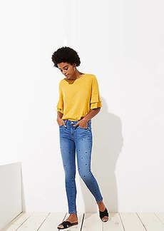 LOFT Modern Dot Skinny Jeans in Bright Mid Indigo Wash