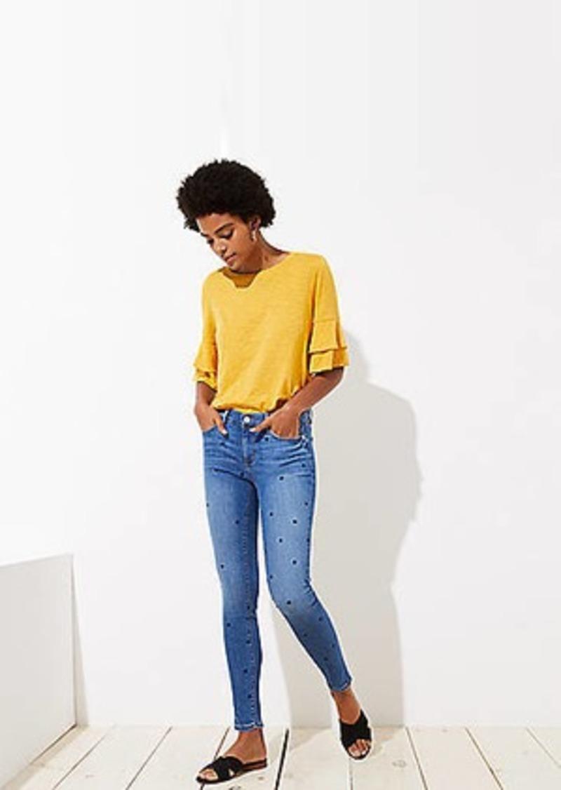 LOFT Modern Dot Skinny Jeans in Bright Mid Indigo Wash