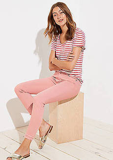 LOFT Modern Double Frayed Skinny Crop Jeans in Pink