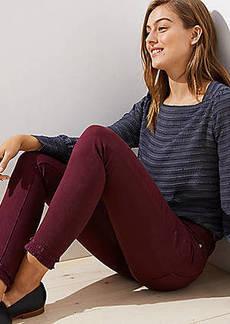 LOFT Modern Double Frayed Skinny Jeans