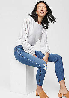 LOFT Modern Embroidered Skinny Ankle Jeans in Bright Medium Stonewash