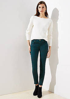 LOFT Modern Floral Frayed Skinny Jeans
