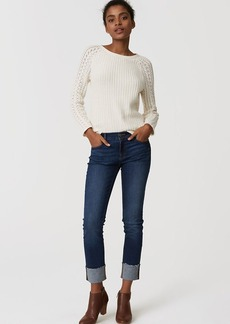 Modern Frayed Cuff Straight Leg Jeans in Classic Dark Indigo Wash