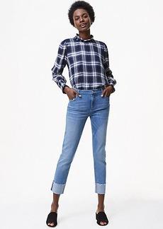 Modern Frayed Cuff Straight Leg Jeans in Light Vintage Wash