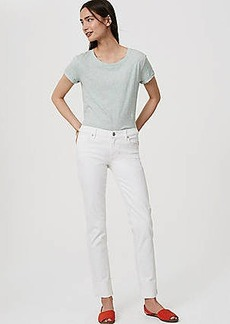 LOFT Modern Frayed Cuff Straight Leg Jeans in White