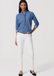 LOFT Modern Frayed Cuff Straight Leg Jeans in White