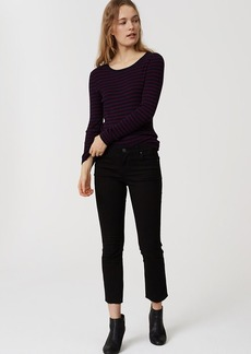 LOFT Modern Frayed Flare Crop Jeans in Black