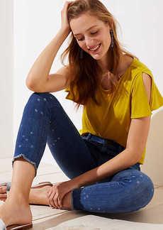 LOFT Modern Star Frayed Skinny Crop Jeans in Classic Mid Indigo Wash