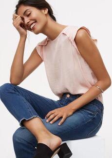 Modern Frayed Skinny Crop Jeans in Mid Stonewash