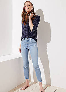 LOFT Modern Frayed Skinny Jeans in Vivid Light Indigo Wash
