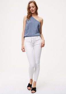 Modern Lace Up Skinny Jeans in White