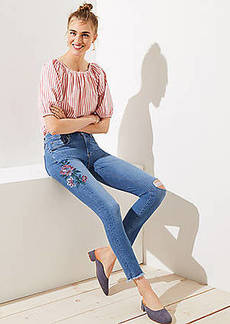 LOFT Modern Painted Floral Frayed Skinny Jeans in Indigo Wash
