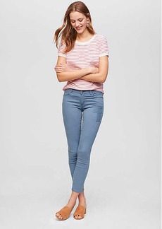 Modern Patchwork Skinny Crop Jeans in Dove Blue