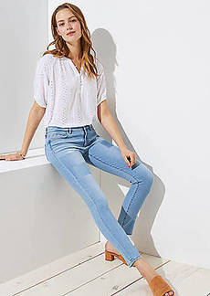 LOFT Modern Patchwork Skinny Jeans in Light Stonewash