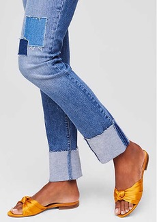 Modern Patchwork Straight Flip Cuff Jeans in Dark Indigo Wash