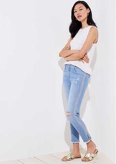 LOFT Modern Diamond Side Stripe Destructed Skinny Crop Jeans