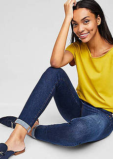 LOFT Modern Skinny Crop Jeans in Rich Dark Indigo Wash