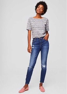 LOFT Modern Skinny Jeans in Destructed Indigo Wash
