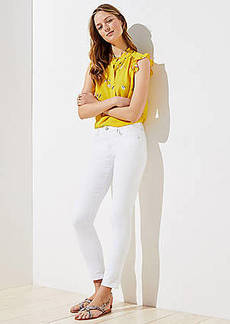 LOFT Slim Pocket Skinny Crop Jeans in White