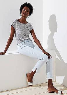 LOFT Modern Slit Frayed Skinny Crop Jeans in Pale Indigo