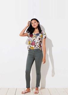 LOFT Modern Slit Frayed Skinny Jeans