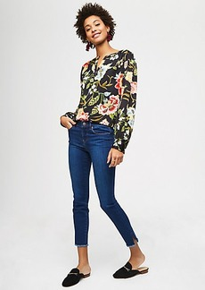 LOFT Modern Slit Frayed Skinny Jeans in Vivid Dark Indigo Wash