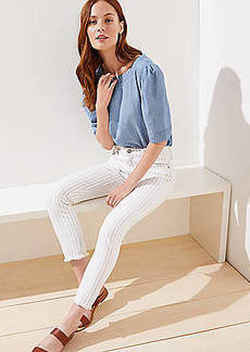 LOFT Striped Slim Pocket Skinny Crop Jeans in White