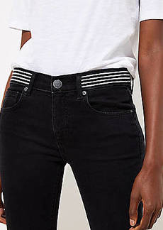 LOFT Modern Striped Waist Skinny Jeans in Washed Black