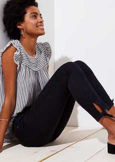 LOFT Modern Tie Cuff Skinny Crop Jeans in Black